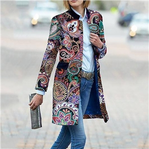 Women's floral print long sleeve coat jacket