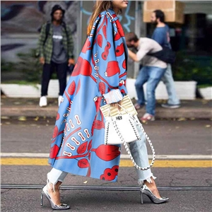 Women's loose floral print long sleeve trench coat