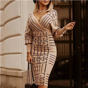 2020 hot style printed v-neck knitted sleeve fashion dress
