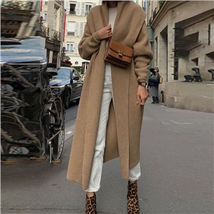 2020 new solid color loose lapel casual ladies coat
