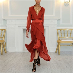 Explosive solid color sexy V-neck long-sleeved dress