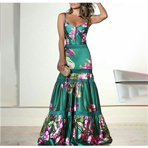2020 hot style women's sexy sling print dress long dress