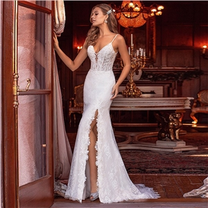 Deep V Slim Double Shoulder Lace Was Thin and Simple Tailed Palace Long Evening Dress