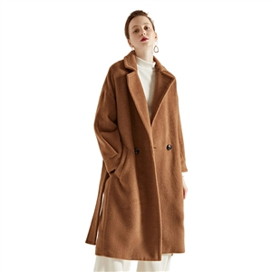 2020 winter temperament woolen coat with lace-up waist and thinner high-end alpaca wool coat