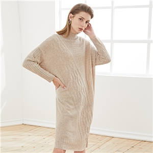 2020 autumn and winter simple half high neck long over the knee thin knitted sweater dress