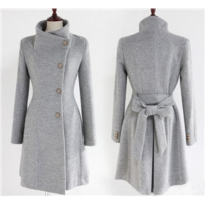 Woolen women's coat mid-length single-breasted belted woolen coat