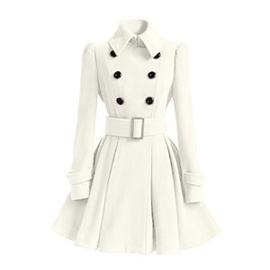 Autumn and winter new double-breasted thickened ladies mid-length woolen coat