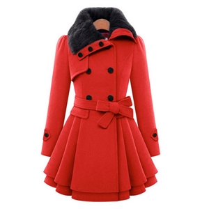 New women's slim mid-length woolen coat double-breasted thick coat