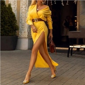 2020 new slim all-match bag hip split sexy dress