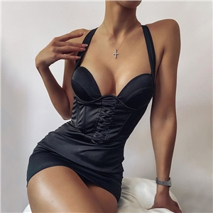 2020 autumn sexy solid color wrapped chest high stretch satin bread hip suspender dress