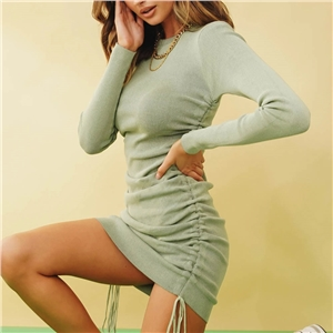 2020 autumn and winter hot style sexy pit strip long-sleeved drawstring adjustable dress