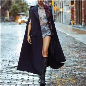 Temperament fashion street style solid color single-breasted cloak long wool coat coat
