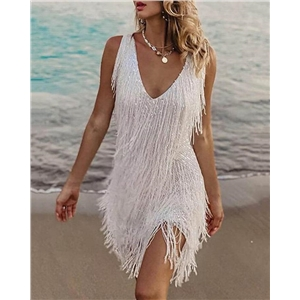 Sexy fringed V-neck slim dress