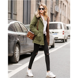 New winter products thick lamb velvet mid-length hooded fur collar plus size cotton coat