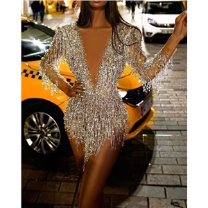 2020 new sexy sequined long sleeve V-neck party dress