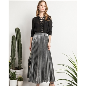 Spring and summer new pleated half-length high-waisted large-size holiday dress