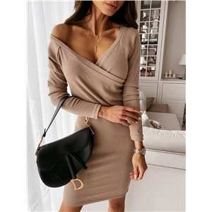 2021 new V-neck sexy mocha solid color slim sexy dress