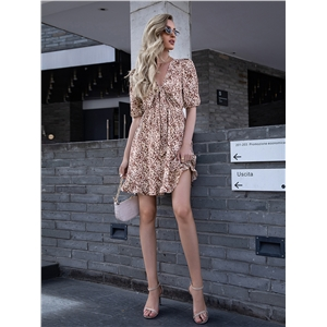 2021 spring and summer new women's chest hollow lace-up ruffle dress