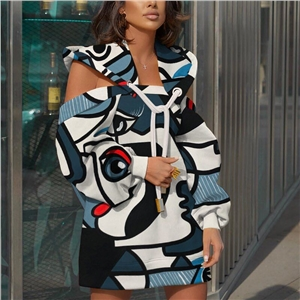 2020 autumn and winter new print mid-length stitching off-shoulder hooded long-sleeved sweater