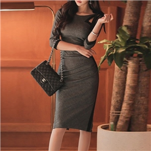 Autumn and winter dress sexy skinny stitching mini skirt