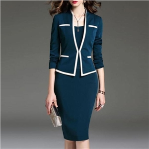 Summer dress lapel slim bag hip skirt professional suit