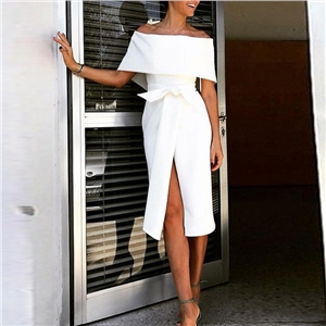 Summer solid color women's slim strapless dress