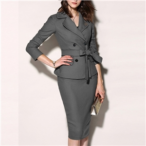 Lapel double-breasted bow tie solid color suit dress