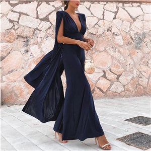 Women's sexy solid color deep V open back jumpsuit