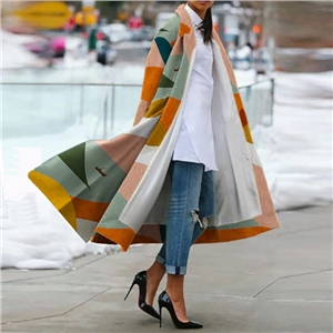 Fashion lapel print color long sleeve coat