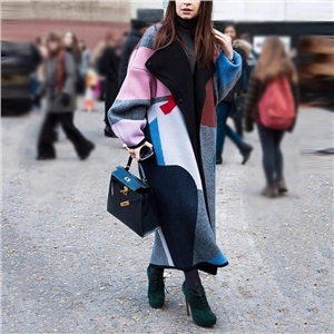 Women's fashion color matching lapel woolen coat