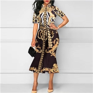 Ladies Retro Print Lapel Slim Dress