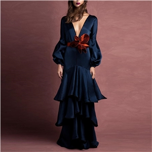Women's dresses Solid color V-neck bow dress