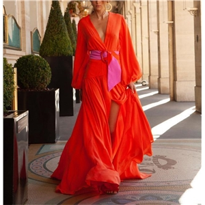 Sexy solid color V-neck long-sleeved mopping dress dress