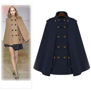 Autumn and winter military cloak double-breasted woolen coat