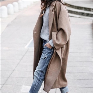 Women's long coat solid color warm women's jacket
