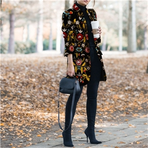 Light mature temperament printed lapel slim-fit women's woolen coat