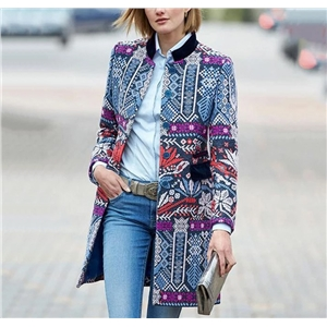 Women Fashion Print Long Sleeve Straight Coat Jacket