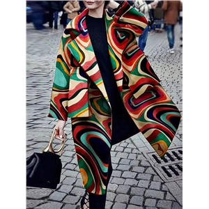 Fashion lapel print long sleeve pocket coat