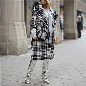Women's coat fashionable British style turn-over collar check color contrast coat