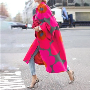 Lapel loose long-sleeved printed fashion ladies coat