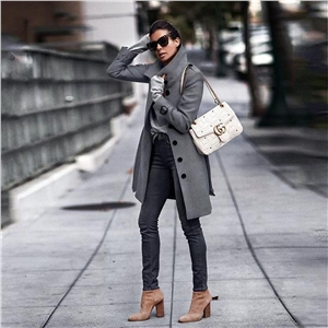 Fashionable Lapel Solid Color Long Sleeve Jacket