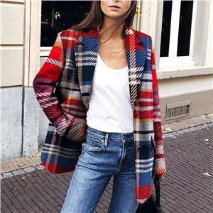 Women's blazers fashion fold-over collar check print coat