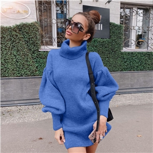 Casual high neck lantern sleeve knit solid color sweater dress