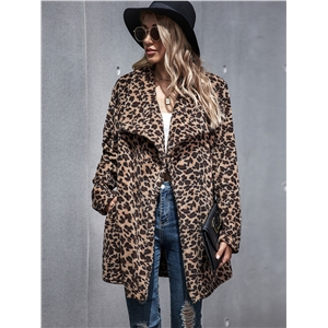 Leopard print faux fur mid-length women's woolen coat jacket