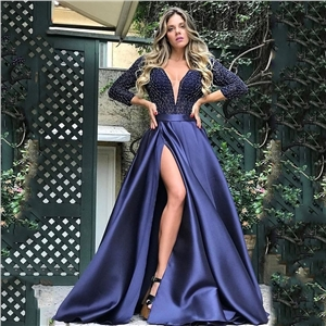 Women's bronzing and big sexy long skirt tail banquet evening dress