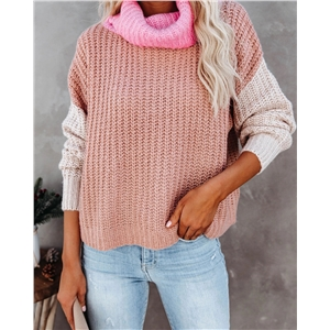 Large size pullover high neck personality stitching fashion sweater