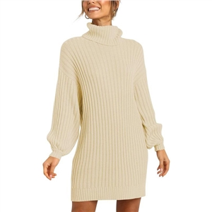 Sweater women's high neck mid-length sweater knit sweater dress