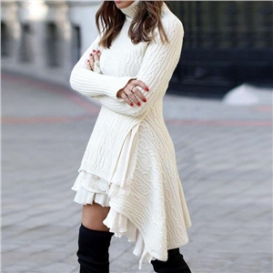 Solid color sweater loose knit sweater dress