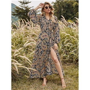 Ladies One Piece Wrap Dress V-neck Long Sleeve Floral Dress