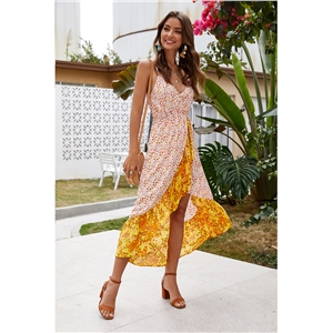 Ladies sling floral irregular split holiday dress